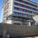 Krankenhaus Speyer, Vordach am Haupteingang, aus Stahlkonstruktion feuerverzinkt